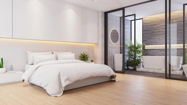 Ideai interno di lusso moderno della camera da letto principale, con il bagno matrice, 3drender