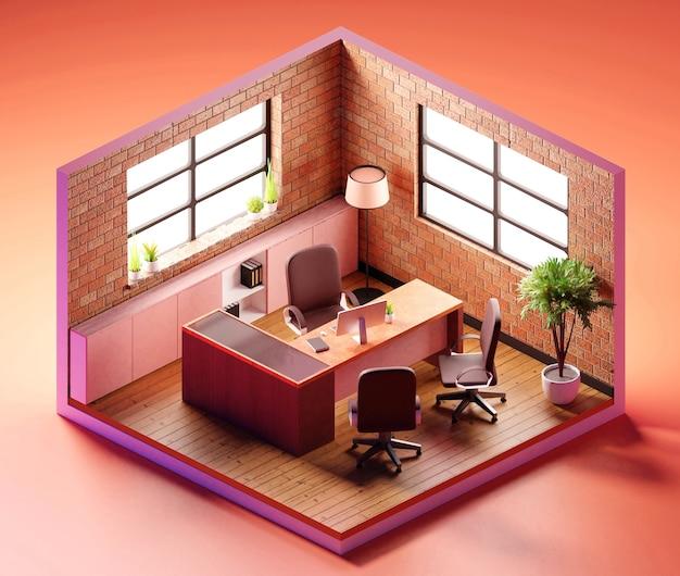 Composizione isometrica moderna della sala riunioni. illustrazione 3d