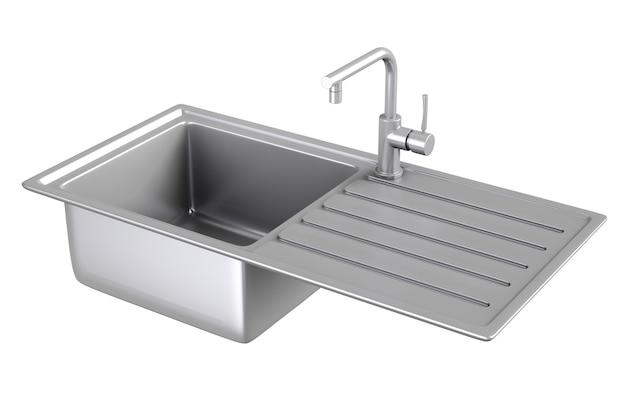 Lavello da cucina in metallo moderno con rubinetto dell'acqua in acciaio inossidabile, rubinetto su sfondo bianco. rendering 3d.