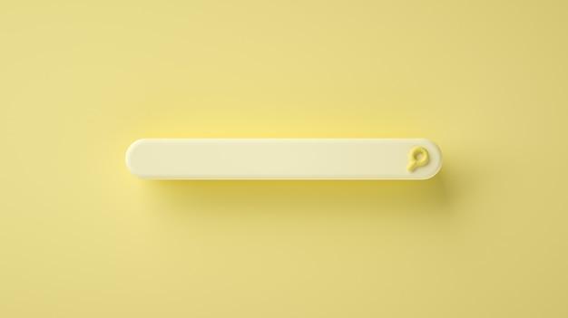 Barra di ricerca vuota moderna e minimale su sfondo giallo. 3rendering