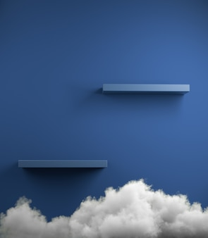 Scaffale vuoto di colore blu classico minimal moderno con sfondo bianco nuvola 3d rendering