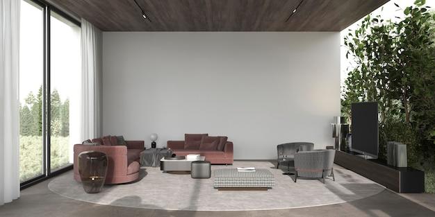 Il soggiorno moderno e minimale di interior design con piante e grandi finestre 3d rende l'illustrazione.