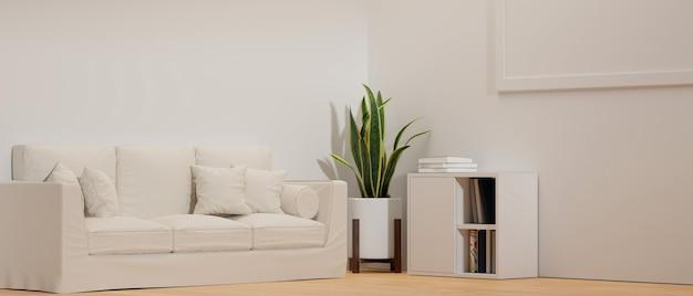 Moderno soggiorno minimale con comodo divano poster di piante da interno mockup su muro bianco rendering 3d
