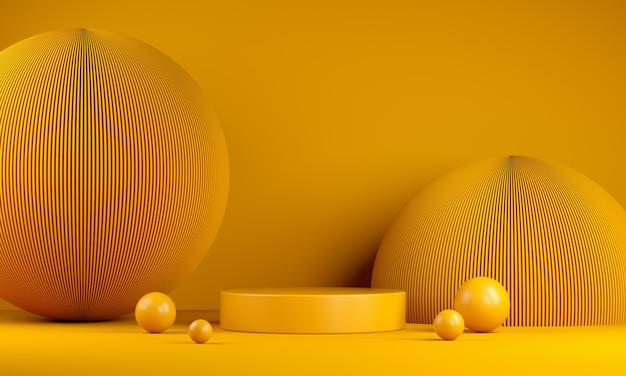 Prodotto di branding giallo moderno minimal mockup podio con sfondo astratto palla pannello ondulato