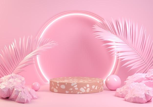 Il concetto naturale della piattaforma rosa minimale moderno con il fondo astratto della luce al neon 3d rende