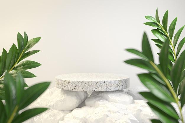 Podio minimo moderno su rock mountain con pianta tropicale. rendering 3d