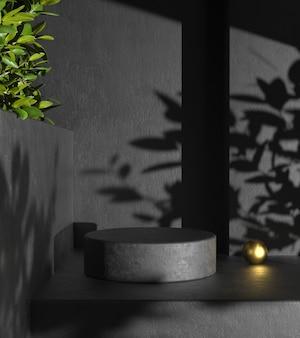 Display nero prodotto minimale moderno con pianta ombra sul muro di cemento astratto rendering 3d