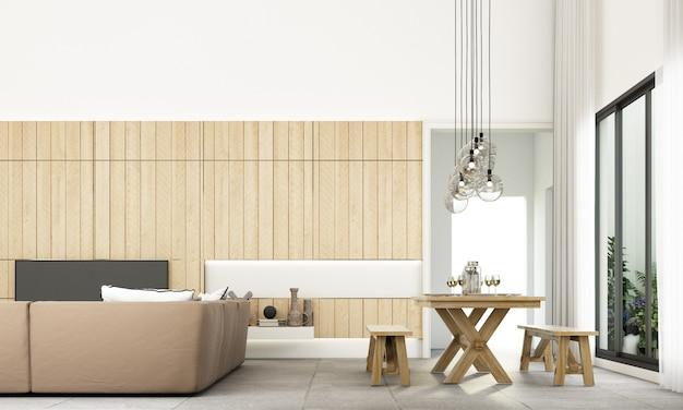 Lo stile minimal moderno della zona giorno e pranzo con set di divani e pavimento piastrellato grigio e parete in legno decorano la rappresentazione 3d