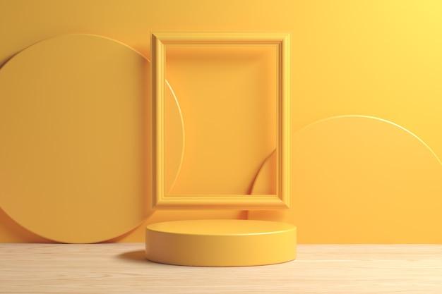 Podio giallo minimo moderno sul pavimento di legno con il fondo astratto della struttura 3d render