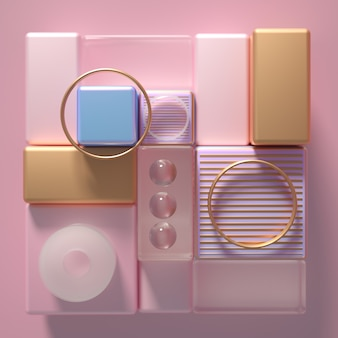Sfondo futuristico minimalismo moderno con cubi e palline
