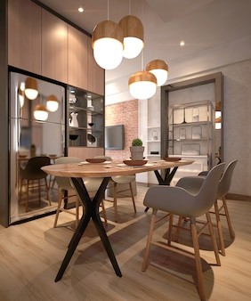 Moderna sala da pranzo minimalista e dispensa dell'interior design dell'appartamento