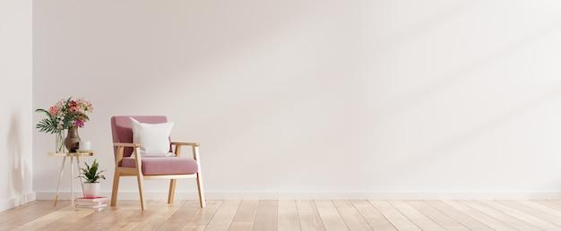 Interni moderni e minimalisti con una poltrona sul rendering 3d muro bianco vuoto
