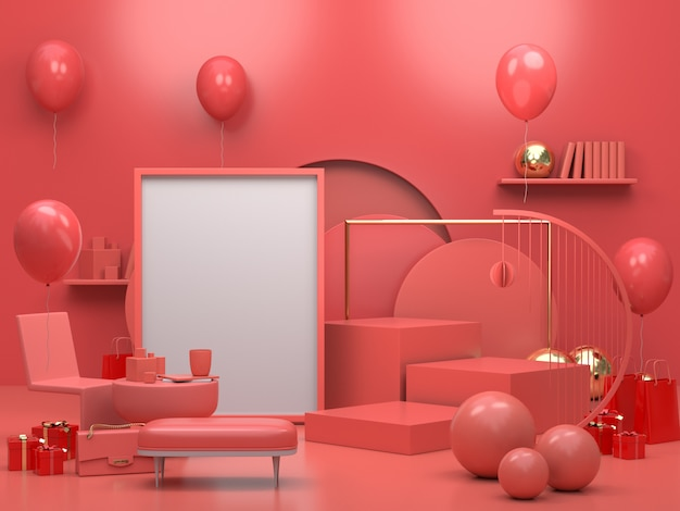 Moderno podio o vetrina minimalista, appartamento interno soggiorno con palloncini e cornice per foto