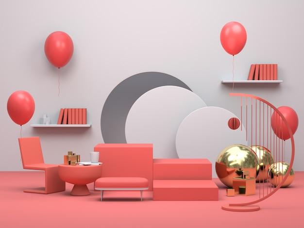 Moderno podio o vetrina minimalista, appartamento interno soggiorno con palloncini
