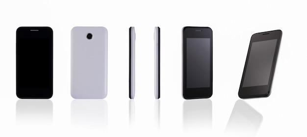 Telefono cellulare moderno su sfondo bianco con revisione della riflessione con diverse angolazioni
