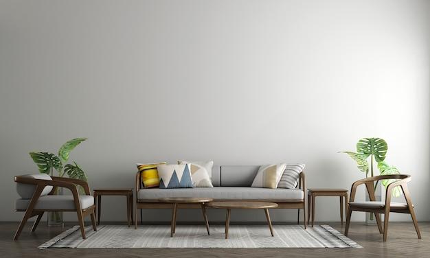 Derisione moderna sul design degli interni della decorazione del soggiorno e del fondo bianco di struttura della parete vuota.rendering 3d