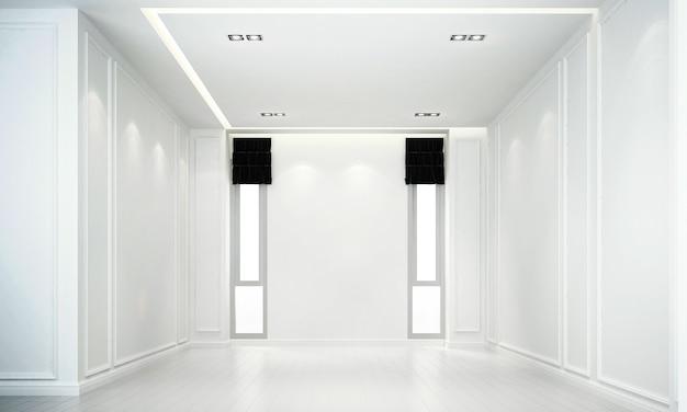 Derisione moderna sul design degli interni della decorazione del soggiorno e fondo bianco di struttura della parete rendering 3d