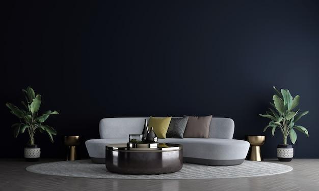 Moderna decorazione d'interni e design del soggiorno e sfondo blu scuro della parete e divano grigio con rendering 3d di tavolino d'oro