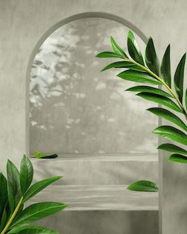 Mockup moderno vuoto palco concreto per la presentazione del prodotto con pianta tropicale e ombrellone sfondo astratto 3d render