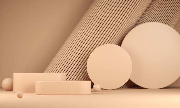 Moderna piattaforma mockup beige pastello composizione geometria sfondo astratto
