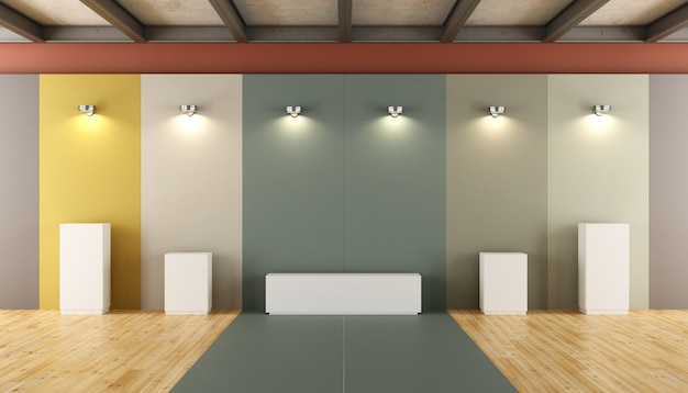 Mostra museo moderno di sculture contemporanee. rendering 3d