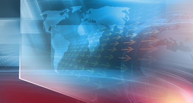 Spazio moderno studio di notizie con mappa del mondo su schermo piatto adatto per l'illustrazione 3d di sfondo di notizie generali