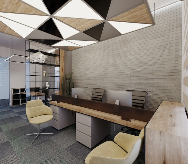 Design moderno per ufficio con tavolo, sedie e soffitto, rendering 3d