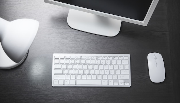 Scrivania da ufficio moderna. lavoro aziendale. concetto di affari