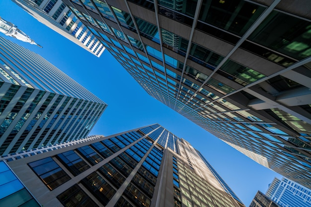 Paesaggio urbano moderno delle costruzioni di vetro dell'ufficio sotto il chiaro cielo blu in washington dc, usa