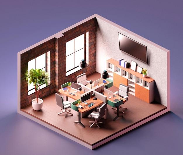 Interiore dell'ufficio moderno con composizione isometrica computer. illustrazione 3d