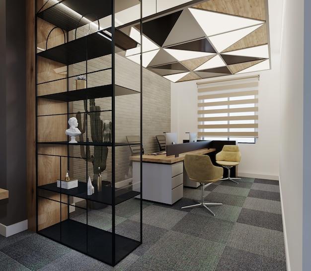 Stanza ufficio moderna con design a soffitto, scrivania e mensola, rendering 3d