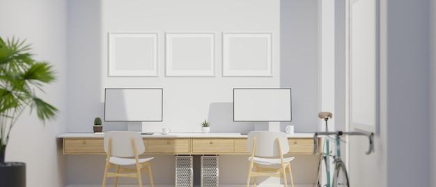 Interior design moderno dello studio dell'ufficio con il rendering 3d del mockup di due computer desktop