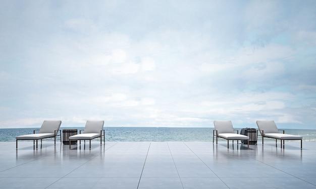 Spazio esterno moderno e decorazione del divano letto e rendering 3d di sfondo vista mare