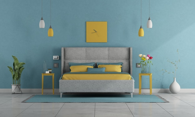 Camera da letto moderna dai colori pastello con letto matrimoniale