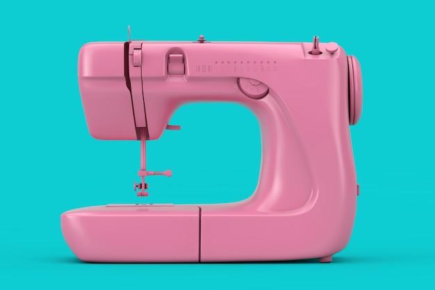 Moderna macchina da cucire rosa bicolore su sfondo blu. rendering 3d