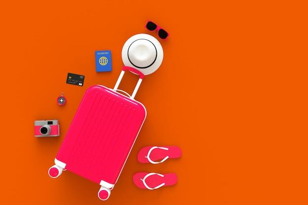 Valigia moderna rosa con accessori per viaggiatori su arancio