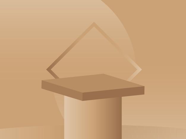 Podio moderno di progettazione dell'esposizione del prodotto su fondo marrone nudo luminoso 3d vector render