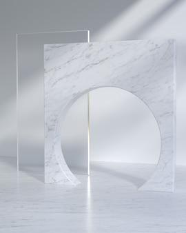 Podio di visualizzazione del prodotto moderno con luce solare e ombra di foglie