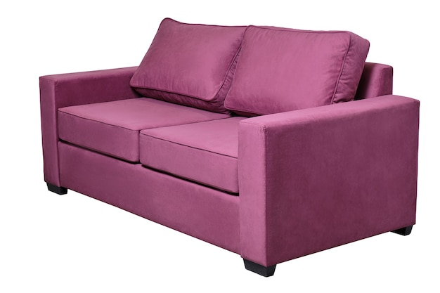 Divano moderno in tessuto viola isolato su bianco, vista laterale. divano contemporaneo