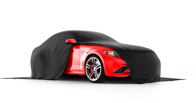 Presentazione rossa moderna dell'automobile sportiva con un panno nero