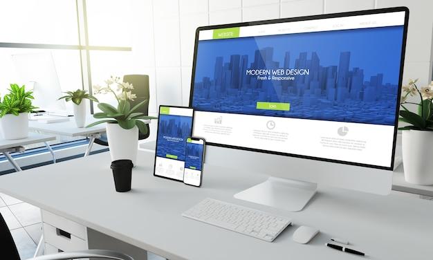 Mockup di dispositivi dello schermo del sito web reattivo moderno al rendering 3d dell'ufficio di coworking