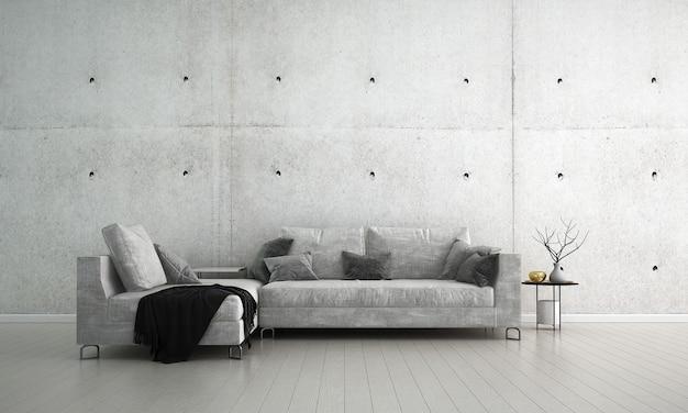 Il design degli interni moderno soggiorno retrò e sfondo texture muro di cemento