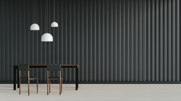 Interior design moderno della stanza in stile scuro, rendering di illustrazioni 3d