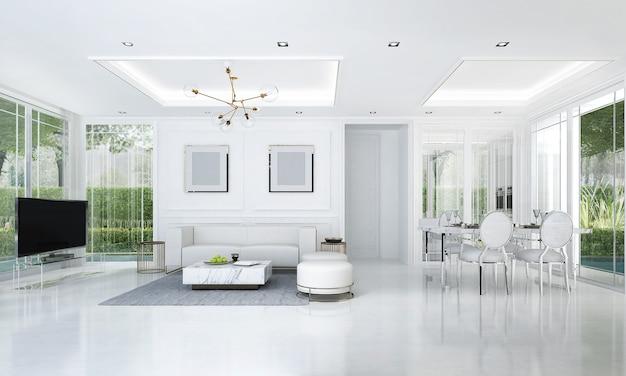 Il design degli interni della camera moderna del soggiorno di lusso e sala da pranzo e parete di marmo vuota e vista sul giardino, rendering 3d