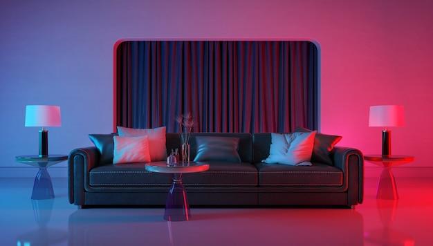 Stanza moderna con illuminazione a luce viola e rossa