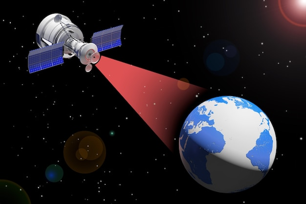 Moderna trasmissione satellitare al globo terrestre su uno sfondo di cielo spaziale stellato. rendering 3d