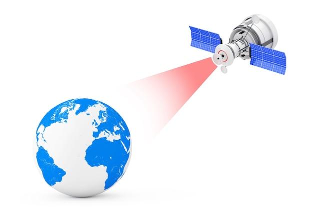 Moderna trasmissione via satellite al globo terrestre su uno sfondo bianco. rendering 3d
