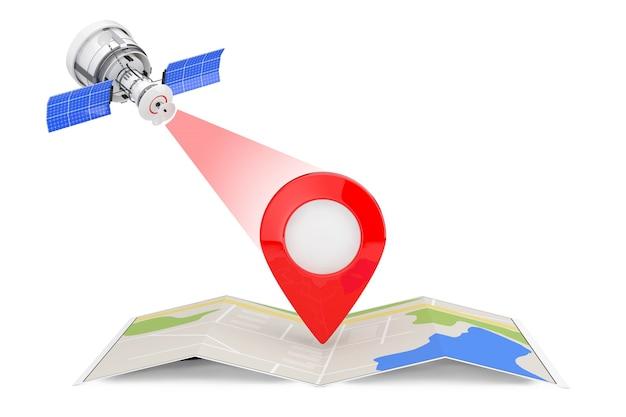 Moderna trasmissione satellitare a mappa di navigazione astratta piegata con pin puntatore mappa su sfondo bianco. rendering 3d
