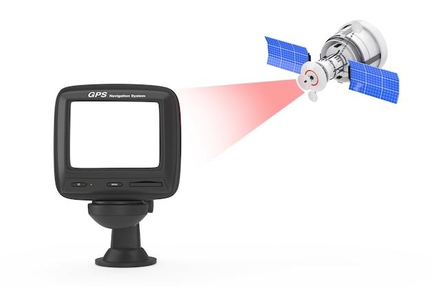 Moderna trasmissione satellitare al dispositivo di navigazione gps con schermo vuoto su sfondo bianco. rendering 3d
