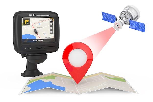 Moderna trasmissione satellitare alla mappa di navigazione con il puntatore della mappa vicino al dispositivo di navigazione gps con mappa della città sullo schermo su uno sfondo bianco. rendering 3d